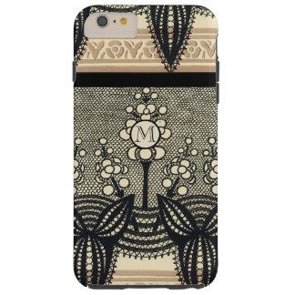 Monogram Vintage Art Nouveau Floral Pattern iphone Tough iPhone 6 Plus Case