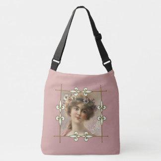 Monogram Vintage Art Nouveau Victorian Flower Girl Crossbody Bag