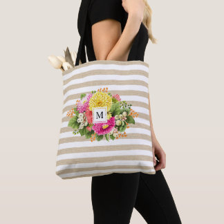 Monogram Vintage Asters Bouquet Pink Beige Bag