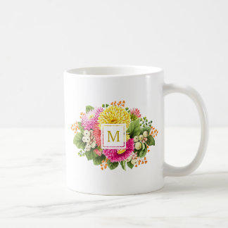 Monogram Vintage Asters Bouquet Pink Yellow Mug