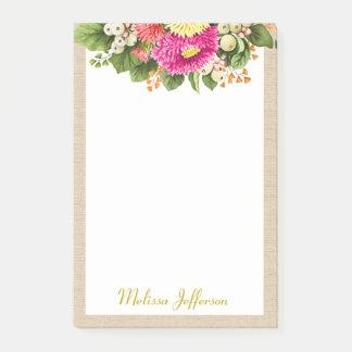 Monogram Vintage Asters Bouquet Post-it® Notes