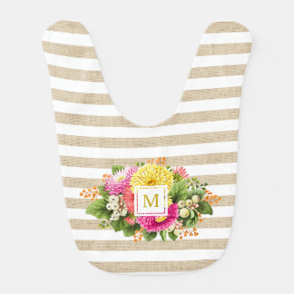 Monogram Vintage Asters Hot Pink Beige Baby Bib