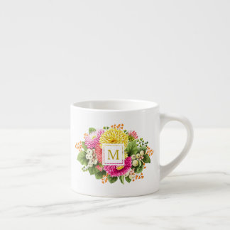 Monogram Vintage Asters Hot Pink Espresso Mug