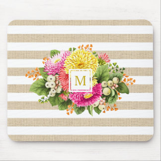 Monogram Vintage Asters Hot Pink Shabby Mousepad