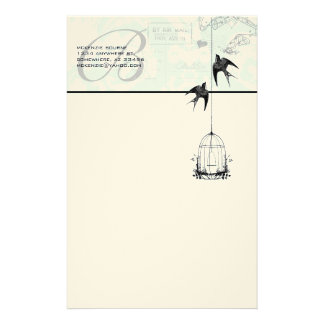 Monogram Vintage Bird Cage with Birds Air Mail Stationery Design
