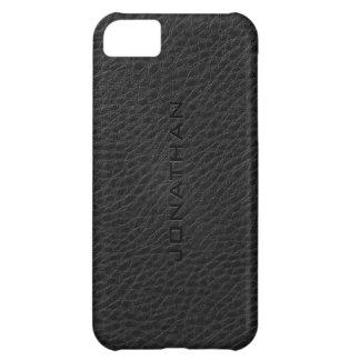 Monogram Vintage Black Leather Texture iPhone 5C Case