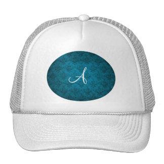 Monogram vintage blue damask hat