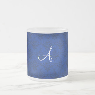 Monogram vintage bright blue damask coffee mug