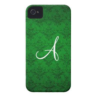 Monogram vintage bright green damask iPhone 4 case