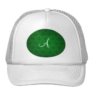 Monogram vintage bright green damask hat
