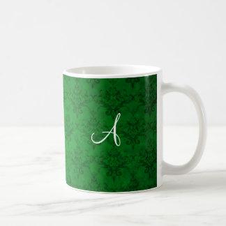 Monogram vintage bright green damask coffee mug