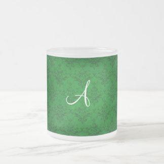 Monogram vintage bright green damask coffee mugs