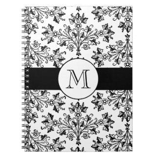Monogram Vintage Floral Damask Pattern Notebook