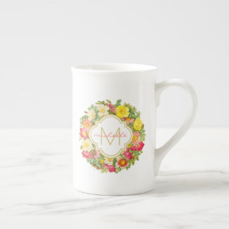 Monogram Vintage Floral Wreath China Mug