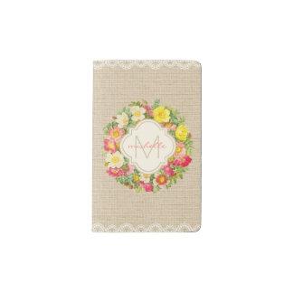 Monogram Vintage Floral Wreath Linen Lace Notebook
