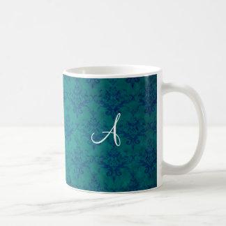 Monogram vintage green damask coffee mugs