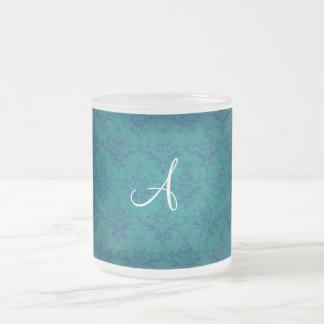 Monogram vintage green damask mug