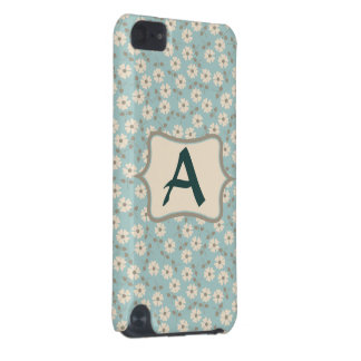 Monogram Vintage Ivory Flowers Pattern Customize iPod Touch (5th Generation) Cover