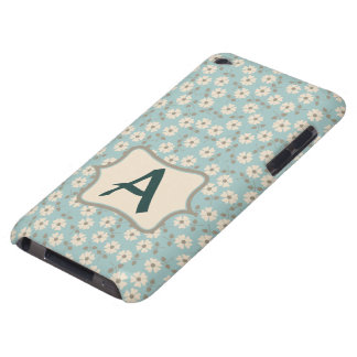 Monogram Vintage Ivory Flowers Pattern Customize Barely There iPod Case