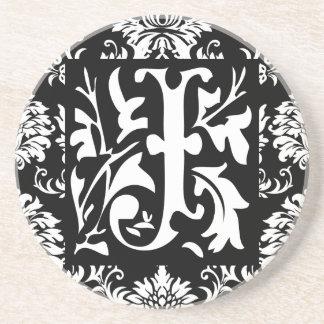 Monogram Vintage J  Wedding Anniversary Coasters