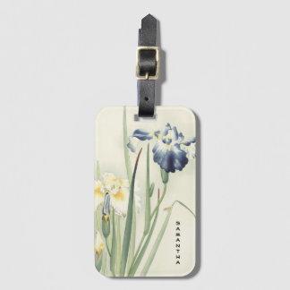 Monogram Vintage Japanese Iris Flower Luggage Tag