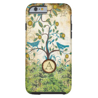 Monogram Vintage Love Birds in a Tree  iPhone 5 Tough iPhone 6 Case