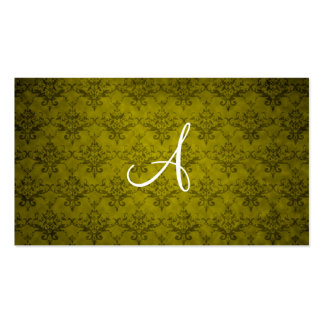 Monogram vintage mustard yellow damask business card template