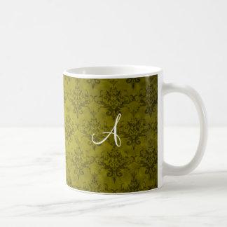 Monogram vintage mustard yellow damask coffee mugs