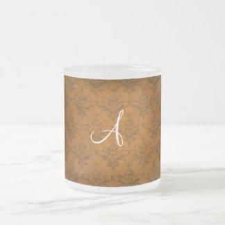 Monogram vintage orange damask coffee mug