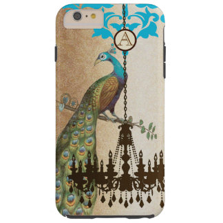 Monogram Vintage Peacock Chandelier Damask iPhone Tough iPhone 6 Plus Case
