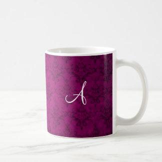 Monogram vintage pink damask coffee mug