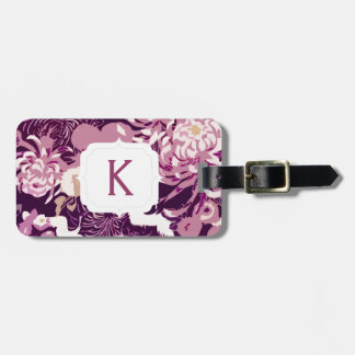 Monogram Vintage Pink purple flowers and birds Luggage Tag