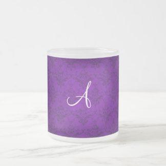 Monogram vintage purple damask coffee mugs