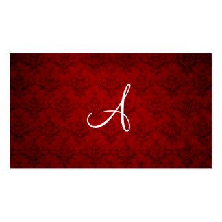 Monogram vintage red damask business card