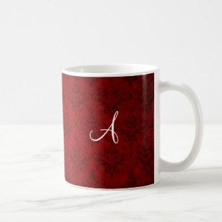 Monogram vintage red damask mug