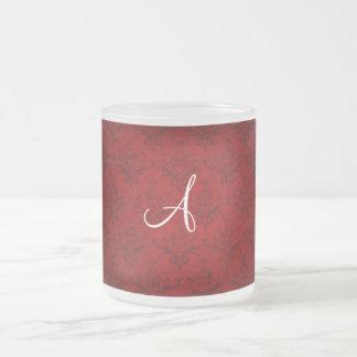 Monogram vintage red damask coffee mug