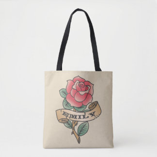 Monogram. Vintage Red Rose Tattoo. Tote Bag