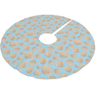 Monogram Vintage Style Seashell Pattern Brushed Polyester Tree Skirt