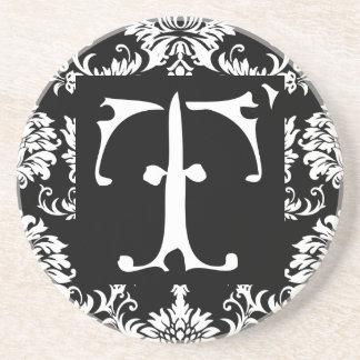 Monogram Vintage T  Wedding Anniversary Coasters