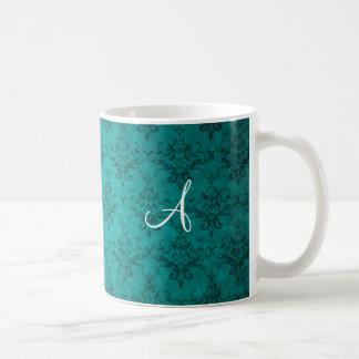 Monogram vintage teal damask mug