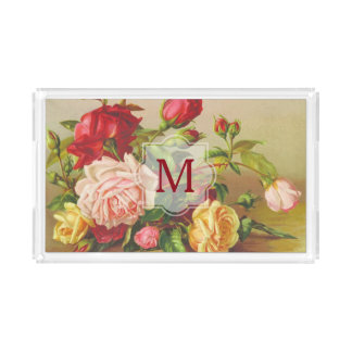 Monogram Vintage Victorian Roses Bouquet Flowers Acrylic Tray