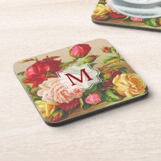 Monogram Vintage Victorian Roses Bouquet Flowers Coaster