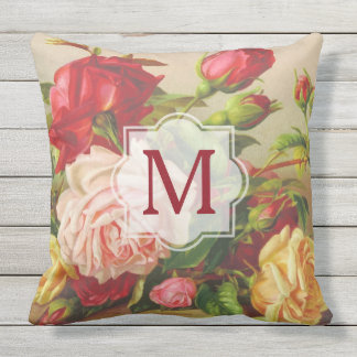 Monogram Vintage Victorian Roses Bouquet Flowers Cushion