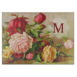 Monogram Vintage Victorian Roses Bouquet Flowers Cutting Board