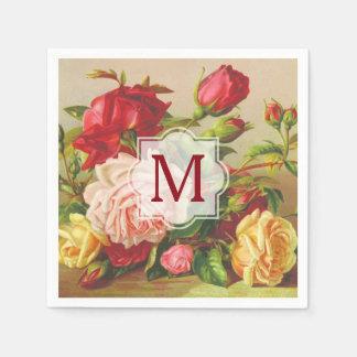 Monogram Vintage Victorian Roses Bouquet Flowers Disposable Napkin