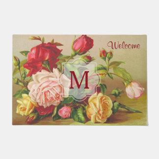 Monogram Vintage Victorian Roses Bouquet Flowers Doormat