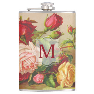 Monogram Vintage Victorian Roses Bouquet Flowers Hip Flask