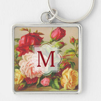 Monogram Vintage Victorian Roses Bouquet Flowers Key Ring