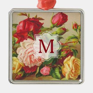 Monogram Vintage Victorian Roses Bouquet Flowers Metal Ornament