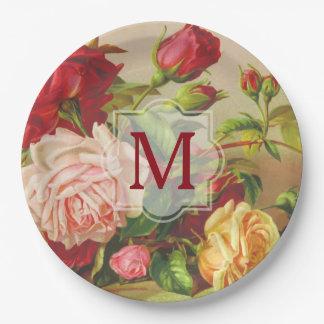 Monogram Vintage Victorian Roses Bouquet Flowers Paper Plate